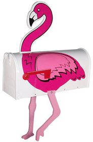 Flamingo-White Novelty Mailbox