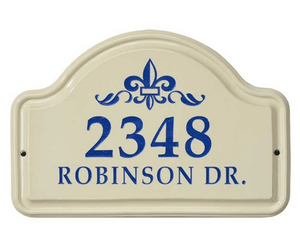 Whitehall Fleur De Lis Ceramic Arch - Standard Wall Plaque - Two Line - Dark Blue
