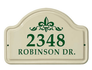 Whitehall Fleur De Lis Ceramic Arch - Standard Wall Plaque - Two Line - Green