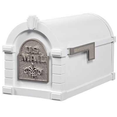 Fleur De Lis Keystone Series Mailbox - White with Satin Nickel Accent
