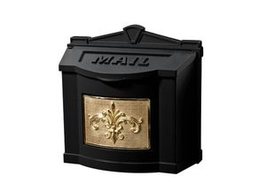 Fleur de Lis Wall Mount Mailbox - Black with Polished Brass
