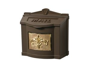 Fleur de Lis Wall Mount Mailbox - Bronze with Polished Brass