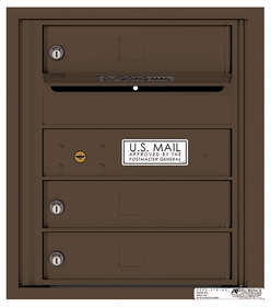 Rear Loading 4C Commercial Mailbox with 3 Tenant Doors