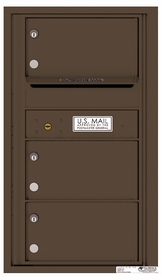 Rear Loading Commercial Mailbox with 3 Tenant Compartments