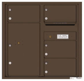 Rear Loading Commercial Mailbox with 4 Tenant Compartments and 1 Parcel Locker