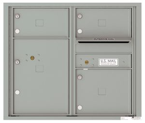 Front Loading Double Column Commercial Mailbox with 3 Tenant Doors and 1 Parcel Locker