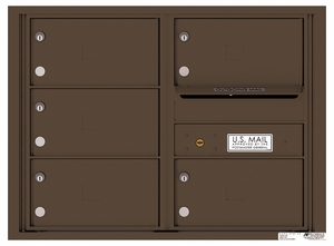 Rear Loading Double Column Commercial Mailbox with 5 Tenant Compartments