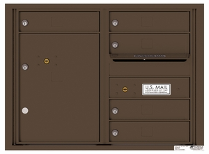 Rear Loading Double Column Commercial Mailbox with 5 Tenant Doors and 1 Parcel Locker