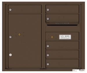 Rear Loading Double Column Commercial Mailbox with 6 Tenant Doors and 1 Parcel Locker