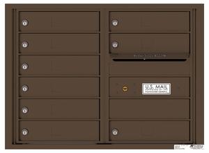 Rear Loading Double Column Commercial Mailbox with 9 Tenant Doors