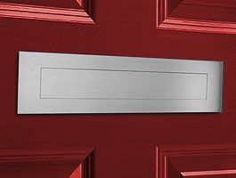 """Satin Brushed Stainless Steel Contemporary Door Mail Slot (large) 15.7"""" x 3.9"""""""