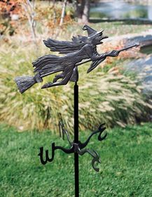 Whitehall Garden Directions FLYING WITCH Weathervane in Metallic Finishes