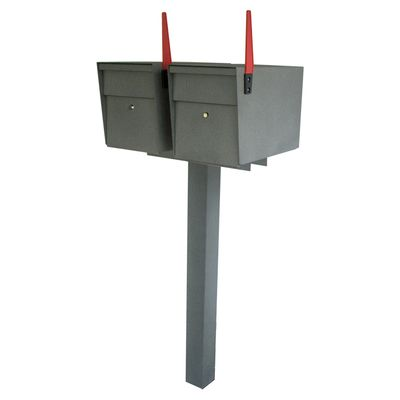 Ultimate High Security Locking Double Mailbox Package - Granite