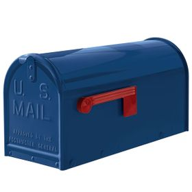 Janzer Mailbox - Residential Post Mount in Gloss Blue
