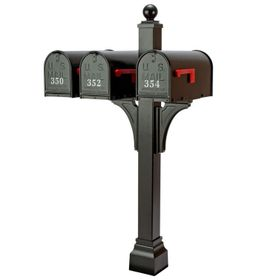 Janzer Multi-Mount Triple Mailbox Post - Textured Black (Optional Mailboxes Available)
