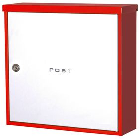 Knobloch Beverly Locking Surface Mount Mailbox in Pure White / Red
