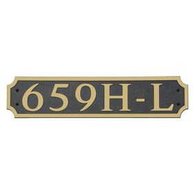 Large Horizontal Wall Mount Address Plaque Gold Black - Square