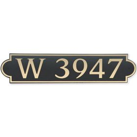 Large Horizontal Wall Mount Address Plaque Gold Black - Rounded