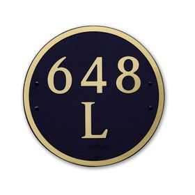Large Round Address Plaque Gold Black