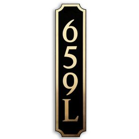 Large Vertical Wall Mount Address Plaque Gold Black - Square