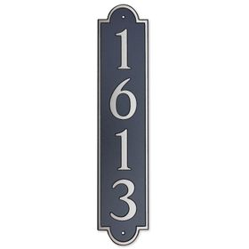 Large Vertical Wall Mount Address Plaque Nickel Black - Rounded