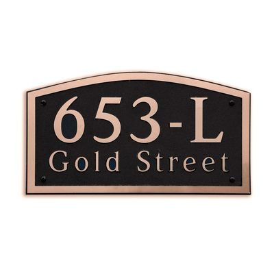 Large Wall Mount Horizontal Address Plaque Copper Black - 653L