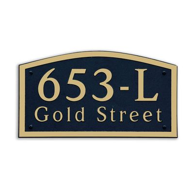 Large Wall Mount Horizontal Address Plaque Gold Black - 653L