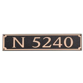 Large Wall Mount Rectangular Horizontal Address Plaque Copper Black
