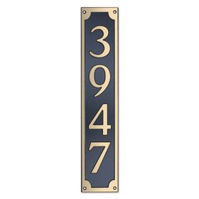 Large Wall Mount Rectangular Vertical Address Plaque Gold Black