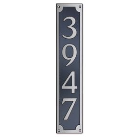 Large Wall Mount Rectangular Vertical Address Plaque Nickel Black
