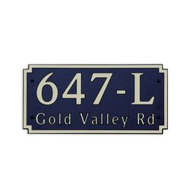 Large Wall or Rock Horizontal Address Plaque Gold Black