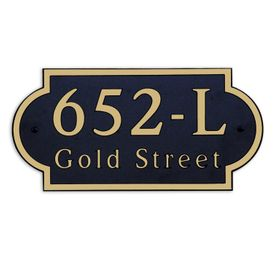Large Wall or Rock Horizontal Address Plaque Gold Black - Rounded