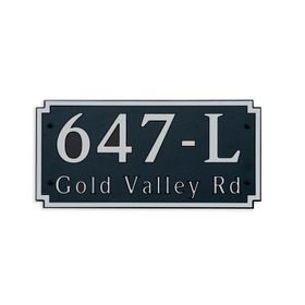 Large Wall or Rock Horizontal Address Plaque Nickel Black
