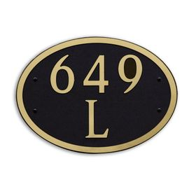 Large Wall or Rock Oval Address Plaque Gold Black