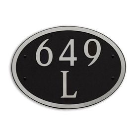 Large Wall or Rock Oval Address Plaque Nickel Black