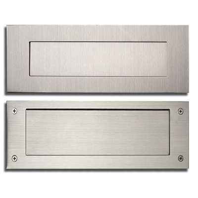 Stainless Steel Modern, Contemporary Door Mail Slot 13 in. x 4 in. (Front and Rear Plates included)