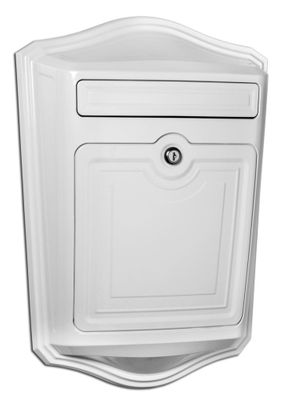 Maison Powder-Coated Cast Aluminum Locking Wall-Mount Mailbox in White