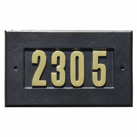 Manchester Address Plate with 3-inch Brass Numbers (included) in Black