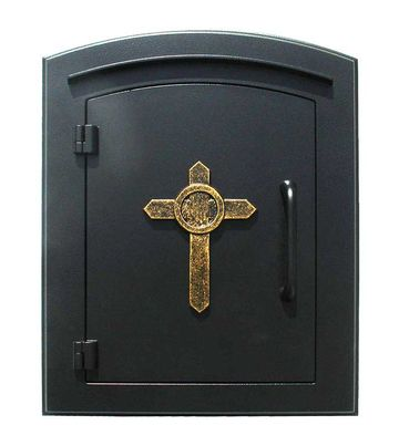 Manchester Non-Locking Column Mount Mailbox with Cross Emblem in Black