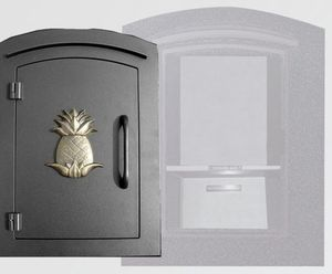 Manchester Security Locking Column Mount Mailbox with Decorative Pineapple Emblem in Black (Stucco Column Not Included)