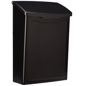Marina Powder-Coated Steel Wall-Mount Mailbox in Black