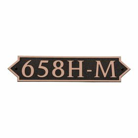 Medium Horizontal Wall Mount Address Plaque Copper Black - Pointed