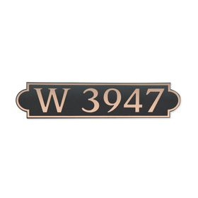 Medium Horizontal Wall Mount Address Plaque Copper Black - Rounded