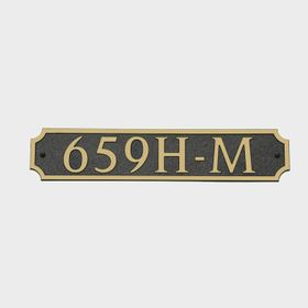 Medium Horizontal Wall Mount Address Plaque Gold Black - Square