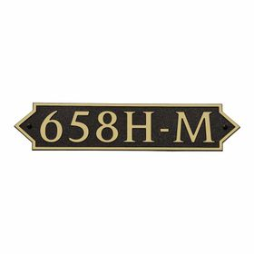 Medium Horizontal Wall Mount Address Plaque Gold Black - Pointed