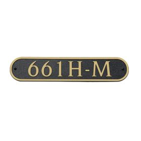 Medium Horizontal Wall Mount Oval Address Plaque Gold Black