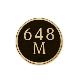 Medium Round Address Plaque Gold Black
