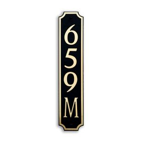 Medium Vertical Wall Mount Address Plaque Gold Black - Square