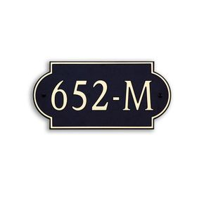 Medium Wall or Rock Horizontal Address Plaque Gold Black - Rounded