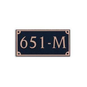 Medium Wall or Rock Rectangular Address Plaque Copper Black